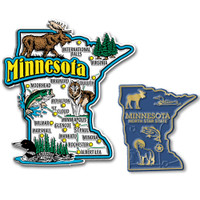 Minnesota Jumbo & Small State Map Magnet Set by Classic Magnets, 2-Piece Set, Collectible Souvenirs Made in the USA