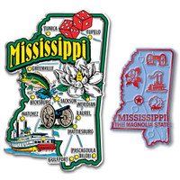 Mississippi Jumbo & Small State Map Magnet Set by Classic Magnets, 2-Piece Set, Collectible Souvenirs Made in the USA