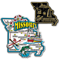 Missouri Jumbo & Small State Map Magnet Set by Classic Magnets, 2-Piece Set, Collectible Souvenirs Made in the USA