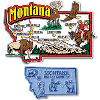 Montana Jumbo & Small State Map Magnet Set by Classic Magnets, 2-Piece Set, Collectible Souvenirs Made in the USA