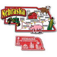 Nebraska Jumbo & Small State Map Magnet Set by Classic Magnets, 2-Piece Set, Collectible Souvenirs Made in the USA