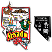 Nevada Jumbo & Small State Map Magnet Set by Classic Magnets, 2-Piece Set, Collectible Souvenirs Made in the USA