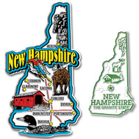 New Hampshire Jumbo & Small State Map Magnet Set by Classic Magnets, 2-Piece Set, Collectible Souvenirs Made in the USA