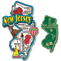 New Jersey Jumbo & Small State Map Magnet Set by Classic Magnets, 2-Piece Set, Collectible Souvenirs Made in the USA