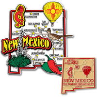 New Mexico Jumbo & Small State Map Magnet Set by Classic Magnets, 2-Piece Set, Collectible Souvenirs Made in the USA