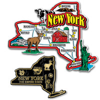 New York Jumbo & Small State Map Magnet Set by Classic Magnets, 2-Piece Set, Collectible Souvenirs Made in the USA