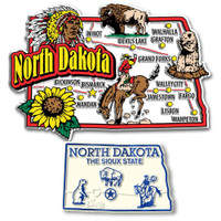 North Dakota Jumbo & Small State Map Magnet Set by Classic Magnets, 2-Piece Set, Collectible Souvenirs Made in the USA