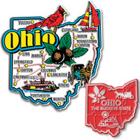 Ohio Jumbo & Small State Map Magnet Set by Classic Magnets, 2-Piece Set, Collectible Souvenirs Made in the USA