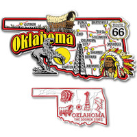 Oklahoma Jumbo & Small State Map Magnet Set by Classic Magnets, 2-Piece Set, Collectible Souvenirs Made in the USA