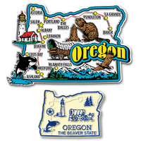 Oregon Jumbo & Small State Map Magnet Set by Classic Magnets, 2-Piece Set, Collectible Souvenirs Made in the USA