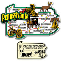 Pennsylvania Jumbo & Small State Map Magnet Set by Classic Magnets, 2-Piece Set, Collectible Souvenirs Made in the USA