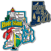 Rhode Island Jumbo & Small State Map Magnet Set by Classic Magnets, 2-Piece Set, Collectible Souvenirs Made in the USA