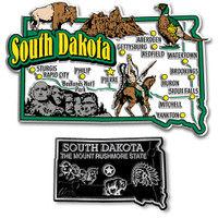 South Dakota Jumbo & Small State Map Magnet Set by Classic Magnets, 2-Piece Set, Collectible Souvenirs Made in the USA