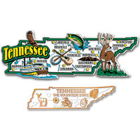 Tennessee Jumbo & Small State Map Magnet Set by Classic Magnets, 2-Piece Set, Collectible Souvenirs Made in the USA