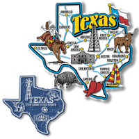 Texas Jumbo & Small State Map Magnet Set by Classic Magnets, 2-Piece Set, Collectible Souvenirs Made in the USA