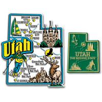 Utah Jumbo & Small State Map Magnet Set by Classic Magnets, 2-Piece Set, Collectible Souvenirs Made in the USA