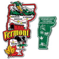 Vermont Jumbo & Small State Map Magnet Set by Classic Magnets, 2-Piece Set, Collectible Souvenirs Made in the USA