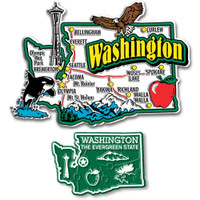 Washington Jumbo & Small State Map Magnet Set by Classic Magnets, 2-Piece Set, Collectible Souvenirs Made in the USA