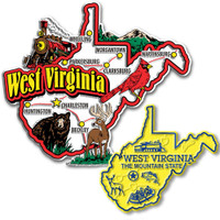 West Virginia Jumbo & Small State Map Magnet Set by Classic Magnets, 2-Piece Set, Collectible Souvenirs Made in the USA