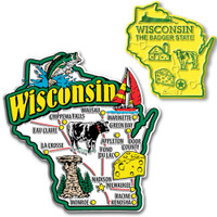 Wisconsin Jumbo & Small State Map Magnet Set by Classic Magnets, 2-Piece Set, Collectible Souvenirs Made in the USA