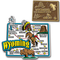 Wyoming Jumbo & Small State Map Magnet Set by Classic Magnets, 2-Piece Set, Collectible Souvenirs Made in the USA