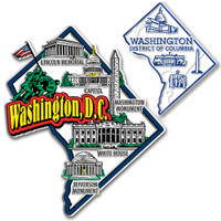 Washington, D.C. Jumbo & Small State Map Magnet Set by Classic Magnets, 2-Piece Set, Collectible Souvenirs Made in the USA