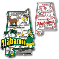 Alabama Jumbo & Premium State Map Magnet Set by Classic Magnets, 2-Piece Set, Collectible Souvenirs Made in the USA