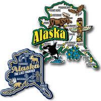 Alaska Jumbo & Premium State Map Magnet Set by Classic Magnets, 2-Piece Set, Collectible Souvenirs Made in the USA