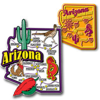 Arizona Jumbo & Premium State Map Magnet Set by Classic Magnets, 2-Piece Set, Collectible Souvenirs Made in the USA