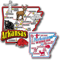 Arkansas Jumbo & Premium State Map Magnet Set by Classic Magnets, 2-Piece Set, Collectible Souvenirs Made in the USA