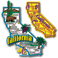 California Jumbo & Premium State Map Magnet Set by Classic Magnets, 2-Piece Set, Collectible Souvenirs Made in the USA
