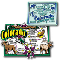 Colorado Jumbo & Premium State Map Magnet Set by Classic Magnets, 2-Piece Set, Collectible Souvenirs Made in the USA