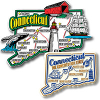 Connecticut Jumbo & Premium State Map Magnet Set by Classic Magnets, 2-Piece Set, Collectible Souvenirs Made in the USA