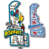 Delaware Jumbo & Premium State Map Magnet Set by Classic Magnets, 2-Piece Set, Collectible Souvenirs Made in the USA