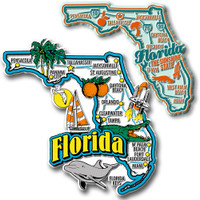 Florida Jumbo & Premium State Map Magnet Set by Classic Magnets, 2-Piece Set, Collectible Souvenirs Made in the USA