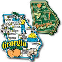 Georgia Jumbo & Premium State Map Magnet Set by Classic Magnets, 2-Piece Set, Collectible Souvenirs Made in the USA