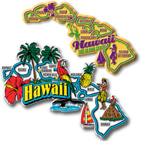 Hawaii Jumbo & Premium State Map Magnet Set by Classic Magnets, 2-Piece Set, Collectible Souvenirs Made in the USA