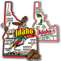 Idaho Jumbo & Premium State Map Magnet Set by Classic Magnets, 2-Piece Set, Collectible Souvenirs Made in the USA