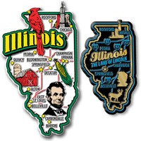 Illinois Jumbo & Premium State Map Magnet Set by Classic Magnets, 2-Piece Set, Collectible Souvenirs Made in the USA