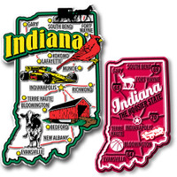 Indiana Jumbo & Premium State Map Magnet Set by Classic Magnets, 2-Piece Set, Collectible Souvenirs Made in the USA