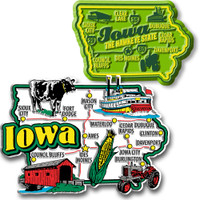 Iowa Jumbo & Premium State Map Magnet Set by Classic Magnets, 2-Piece Set, Collectible Souvenirs Made in the USA