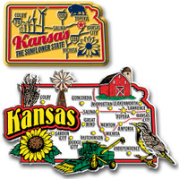 Kansas Jumbo & Premium State Map Magnet Set by Classic Magnets, 2-Piece Set, Collectible Souvenirs Made in the USA