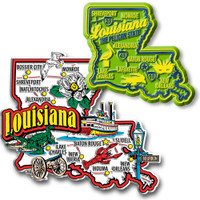 Louisiana Jumbo & Premium State Map Magnet Set by Classic Magnets, 2-Piece Set, Collectible Souvenirs Made in the USA