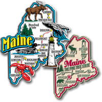 Maine Jumbo & Premium State Map Magnet Set by Classic Magnets, 2-Piece Set, Collectible Souvenirs Made in the USA