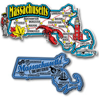 Massachusetts Jumbo & Premium State Map Magnet Set by Classic Magnets, 2-Piece Set, Collectible Souvenirs Made in the USA