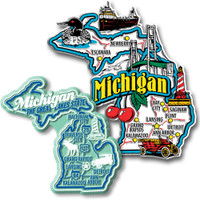 Michigan Jumbo & Premium State Map Magnet Set by Classic Magnets, 2-Piece Set, Collectible Souvenirs Made in the USA