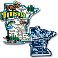 Minnesota Jumbo & Premium State Map Magnet Set by Classic Magnets, 2-Piece Set, Collectible Souvenirs Made in the USA