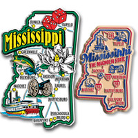Mississippi Jumbo & Premium State Map Magnet Set by Classic Magnets, 2-Piece Set Collectible Souvenirs Made in the USA