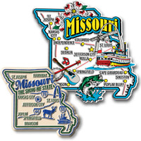 Missouri Jumbo & Premium State Map Magnet Set by Classic Magnets, 2-Piece Set, Collectible Souvenirs Made in the USA