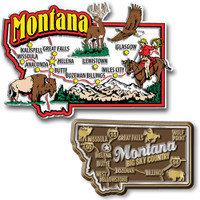 Montana Jumbo & Premium State Map Magnet Set by Classic Magnets, 2-Piece Set, Collectible Souvenirs Made in the USA